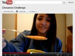 Girl attempting cinnamon challenge on YouTube