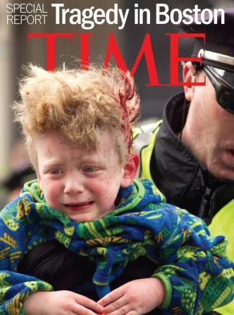 Injured baby shortly after second Boston bomb explosion. Photo via TIME.