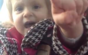 Toddler tells dad off. Screen shot via You Tube.