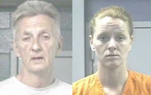 Charles Browning (left), 56, arrested for leaving toddler in stuck in stroller for hours while passed out. Toddler's mother, Mary Browning (right), 22, arrested on unrelated burglary charge.