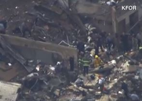 Plaza Tower Elementary, where 75 people were stuck when tornado hit. Twenty four bodies have been recovered from site so far. Screen shot via CNN.