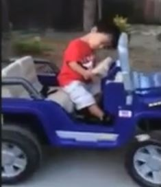 Jonah just can't keep his eyes open while operating heavy machinery. Screen shot via You Tube.