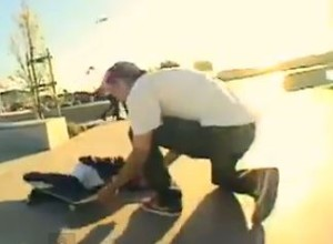 Skateboarder gets served by ticked off mother. Screen shot via You Tube.
