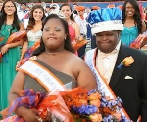 Homecoming King and Queen, Bubba and Simone, make history after they are the first Down Syndrome students to be crowned for Homecoming in Florida. Photo via Facebook.