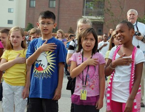 """Atheist parents upset children are exposed to """"under God"""" phrase during pledge of allegiance. Photo By USAG- Humphreys via StockPholio.com"""